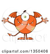Clipart Of A Bat Winged Fork Tailed Orange Monster With Open Arms Royalty Free Vector Illustration