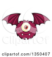 Clipart Of A Furry Bat Winged Purple Cyclops Monster Flying Royalty Free Vector Illustration by Hit Toon