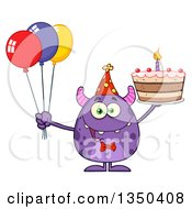 Clipart Of A Happy Purple Horned Monster Holding A Birthday Cake And Party Balloons Royalty Free Vector Illustration