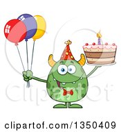 Happy Green Horned Monster Holding A Birthday Cake And Party Balloons