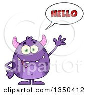 Clipart Of A Cartoon Happy Purple Horned Monster Saying Hello And Waving Royalty Free Vector Illustration
