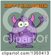 Clipart Of A Cartoon Happy Purple Horned Monster Waving Under Happy Halloween Text On Green Royalty Free Vector Illustration