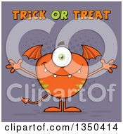 Clipart Of A Bat Winged Fork Tailed Orange Monster With Open Arms With Trick Or Treat Text Over Purple Royalty Free Vector Illustration
