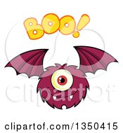 Clipart Of A Furry Bat Winged Purple Cyclops Monster Flying With Boo Text Royalty Free Vector Illustration by Hit Toon