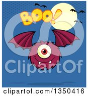 Clipart Of A Furry Bat Winged Purple Cyclops Monster Flying With Boo Text Over Blue A Full Moon And Bats Royalty Free Vector Illustration by Hit Toon