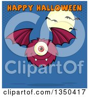 Clipart Of A Furry Bat Winged Purple Cyclops Monster Flying With Happy Halloween Text Over Blue A Full Moon And Bats Royalty Free Vector Illustration by Hit Toon