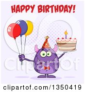 Clipart Of A Happy Birthday Greeting Over A Purple Horned Monster Holding A Cake And Party Balloons On Purple Royalty Free Vector Illustration
