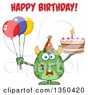 Clipart Of A Happy Birthday Greeting Over A Green Horned Monster Holding A Cake And Party Balloons Royalty Free Vector Illustration