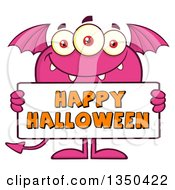 Clipart Of A Pink Bat Winged Fork Tailed Monster Holding A Happy Halloween Sign Royalty Free Vector Illustration