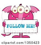 Clipart Of A Pink Bat Winged Fork Tailed Monster Holding A Follow Me Sign Royalty Free Vector Illustration