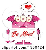 Clipart Of A Pink Bat Winged Fork Tailed Monster Holding A Be Mine Valentine Sign Royalty Free Vector Illustration
