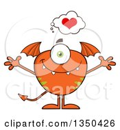 Clipart Of A Loving Bat Winged Fork Tailed Orange Monster With Open Arms Royalty Free Vector Illustration