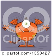 Clipart Of A Bat Winged Fork Tailed Orange Monster With Open Arms Over Purple Royalty Free Vector Illustration