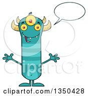 Clipart Of A Talking Turquoise Three Eyed Horned And Striped Welcoming Happy Monster Royalty Free Vector Illustration