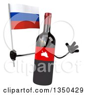Clipart Of A 3d Wine Bottle Mascot Holding A Russian Flag And Jumping Royalty Free Illustration