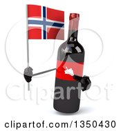 Clipart Of A 3d Wine Bottle Mascot Holding A Norwegian Flag Royalty Free Illustration