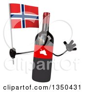 Clipart Of A 3d Wine Bottle Mascot Holding A Norwegian Flag And Jumping Royalty Free Illustration