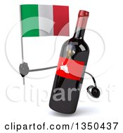 Clipart Of A 3d Wine Bottle Mascot Holding An Italian Flag Royalty Free Illustration