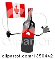 Clipart Of A 3d Wine Bottle Mascot Holding A Canadian Flag And Jumping Royalty Free Illustration