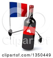 Clipart Of A 3d Wine Bottle Mascot Holding A French Flag Royalty Free Illustration by Julos