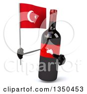 Clipart Of A 3d Wine Bottle Mascot Holding A Turkish Flag Royalty Free Illustration by Julos