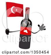 Clipart Of A 3d Wine Bottle Mascot Holding A Turkish Flag And Jumping Royalty Free Illustration by Julos