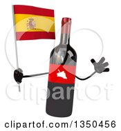 Clipart Of A 3d Wine Bottle Mascot Holding A Spanish Flag And Jumping Royalty Free Illustration