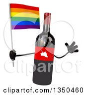 Clipart Of A 3d Wine Bottle Mascot Holding A Rainbow Flag And Jumping Royalty Free Illustration