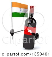 Clipart Of A 3d Wine Bottle Mascot Holding An Indian Flag Royalty Free Illustration