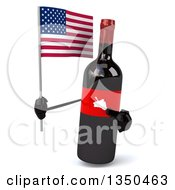 Clipart Of A 3d Wine Bottle Mascot Holding An American Flag Royalty Free Illustration by Julos