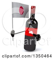 Clipart Of A 3d Wine Bottle Mascot Holding A Japanese Flag Royalty Free Illustration by Julos