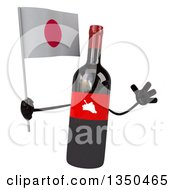 Clipart Of A 3d Wine Bottle Mascot Holding A Japanese Flag And Jumping Royalty Free Illustration by Julos