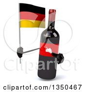Clipart Of A 3d Wine Bottle Mascot Holding A German Flag Royalty Free Illustration by Julos