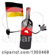 Clipart Of A 3d Wine Bottle Mascot Holding A German Flag And Jumping Royalty Free Illustration by Julos