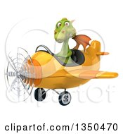 Clipart Of A 3d Green Dragon Aviator Pilot Flying A Yellow Airplane To The Left Royalty Free Illustration