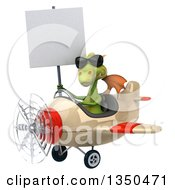 Clipart Of A 3d Green Dragon Aviator Pilot Wearing Sunglasses Holding A Blank Sign And Flying An Airplane To The Left Royalty Free Illustration