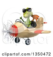 Clipart Of A 3d Green Dragon Aviator Pilot Wearing Sunglasses Giving A Thumb Up And Flying An Airplane To The Left Royalty Free Illustration