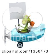 Clipart Of A 3d Green Dragon Aviator Pilot Holding A Blank Sign And Flying A Blue Airplane To The Left Royalty Free Illustration