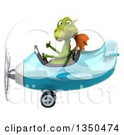 Clipart Of A 3d Green Dragon Aviator Pilot Giving A Thumb Up And Flying A Blue Airplane To The Left Royalty Free Illustration
