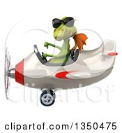 Clipart Of A 3d Green Dragon Aviator Pilot Wearing Sunglasses Giving A Thumb Down And Flying A White And Red Airplane To The Left Royalty Free Illustration