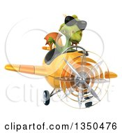 Clipart Of A 3d Green Dragon Aviator Pilot Wearing Sunglasses Giving A Thumb Down And Flying A Yellow Airplane Royalty Free Illustration