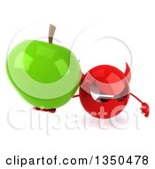 Clipart Of A 3d Red Devil Head Holding Up A Green Apple Royalty Free Illustration by Julos