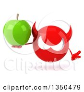 Clipart Of A 3d Red Devil Head Holding A Green Apple And Shrugging Royalty Free Illustration by Julos