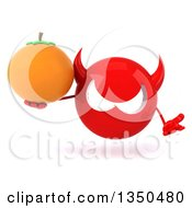 Clipart Of A 3d Red Devil Head Holding A Navel Orange And Shrugging Royalty Free Illustration