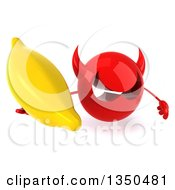 Clipart Of A 3d Red Devil Head Holding Up A Banana Royalty Free Illustration