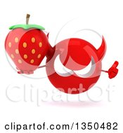 Clipart Of A 3d Red Devil Head Holding A Strawberry And Giving A Thumb Up Royalty Free Illustration