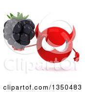 Clipart Of A 3d Red Devil Head Holding A Blackberry Royalty Free Illustration by Julos