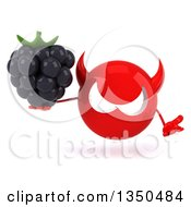 Clipart Of A 3d Red Devil Head Holding A Blackberry And Shrugging Royalty Free Illustration