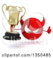 Clipart Of A 3d Red Devil Head Holding A Trophy And Giving A Thumb Up Royalty Free Illustration by Julos