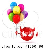 Clipart Of A 3d Red Devil Head Holding Party Balloons And Giving A Thumb Up Royalty Free Illustration